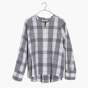 Madewell | Grey Collarless Plaid Button Down Shirt